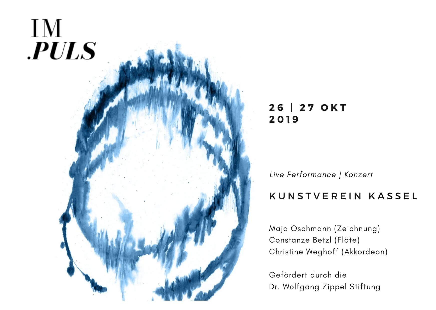 Im.Puls - Live Performance - Konzert - Kasseler Kunstverein - Transfer Zeichnung Musik - Flyer - copyright Maja Oschmann