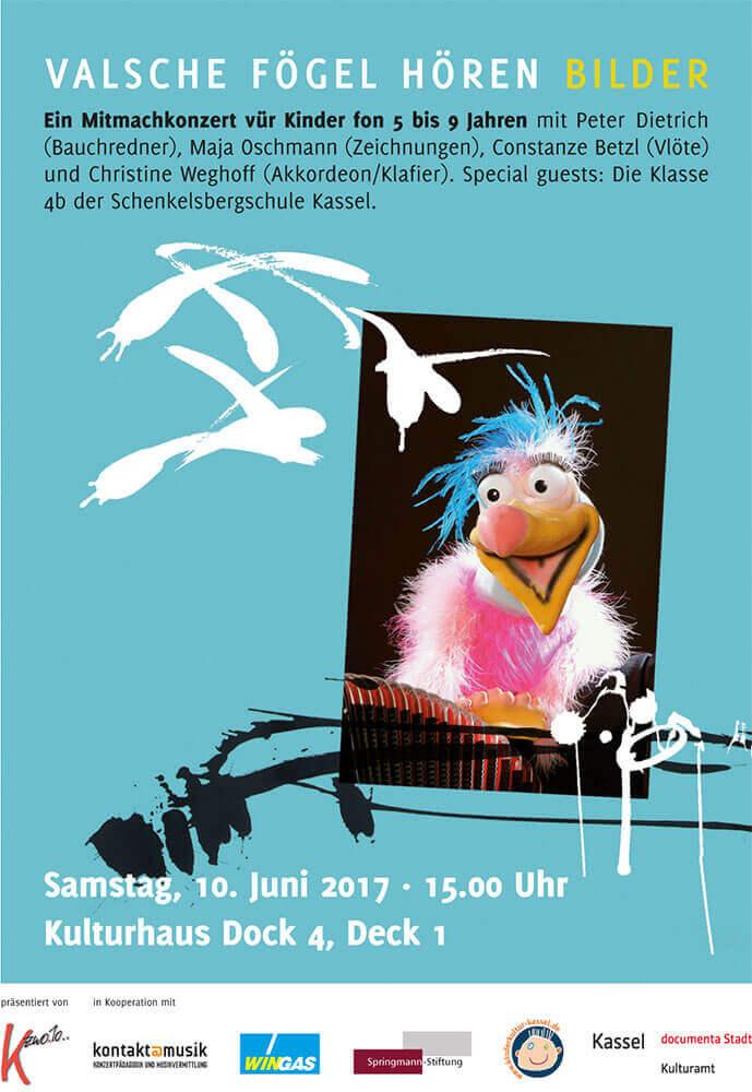 Im.Puls - Kinderkonzert Valsche Fögel - Live Performance Dock4 - Transfer Zeichnung Musik - Plakat