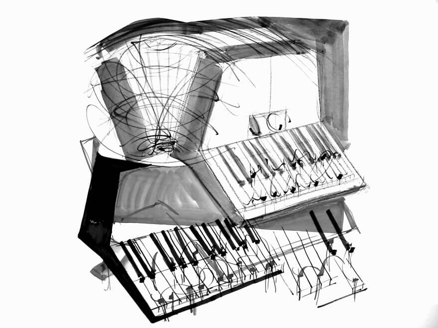 Im.Puls - Transfer Zeichnung Musik - Akkordeon - copyright Maja Oschmann