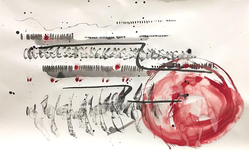 Im.Puls - Transfer Zeichnung Musik - Beinwackeltango - copyright Maja Oschmann