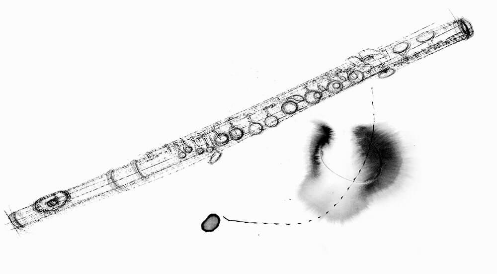 Im.Puls - Transfer Zeichnung Musik - Querflöte Pitkreide - copyright Maja Oschmann