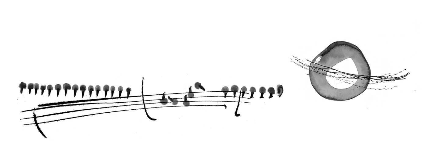 Transfer Zeichnung Musik - Pelzmützen Fliegender Kreis - Zeichnung -Copyright - Maja Oschmann
